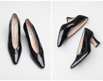 black patent leather Italian heels - 80s witchy & punk / Via Spiga - vintage 80s louis heel pumps / pointy toe heels - ladies 7.5 narrow