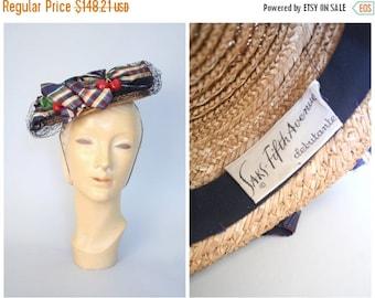rare 1950s straw topper - vintage 50s festooned boater hat / Saks Fifth Avenue - Debutante / netted veil & cherries with plaid ribbon