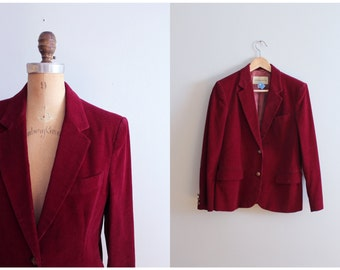 vintage 1970s ladies corduroy blazer - faux suede elbow patches / 70s professor blazer / cabernet red - purple wine corduroy jacket