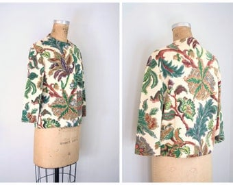 vintage 1950s printed floral wool cardigan sweater - winter / Pearl Ford - forest green / classic 50s
