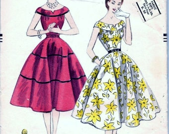 Vintage 1950s Vogue 3594 Evening Dress Off Shoulder Sewing Pattern Bust 31.5 Flared Skirt Dropped Shoulder