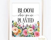 "Bloom Where You Are Planted  - Corinthians - Bible Verse - Bible Quote - PRINTABLE ART - 8x10"" - Instant Download - Inspirational Quote"