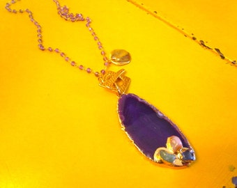Insanely Gorgeous Natural AMETHYST Agate Slice Pendant w/22K Gold Plating on Genuine AMETHYST & 24k Rosary Chain Necklace w/24k Gold Charm