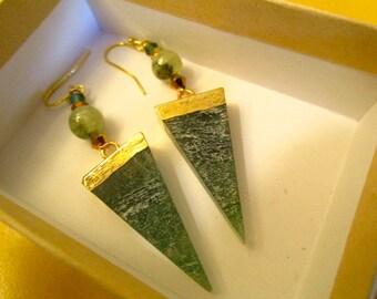 Super Genuine Natural GREEN ADVENTURINE & Authentic JADE Triangle Dangle/Drop Pierced Earrings w/24k Gold Elecroplating, Swarovski Crystals