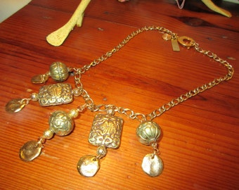 Extraordinary Chunky TIBETAN Gold/Bronze Multiple Vintage PENDANTS w/24k Dangles REPOUSSE, Gold Plate Link Chain Necklace w/Hammered Toggle