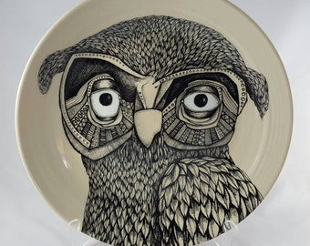 Painted owl platter
