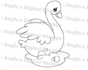 Swan Digital Stamp Image