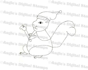 Christmas Squirrel With Bell Digital Stamp Image