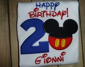 Happy Birthday with Number and Mickey Mouse with Free Personalization