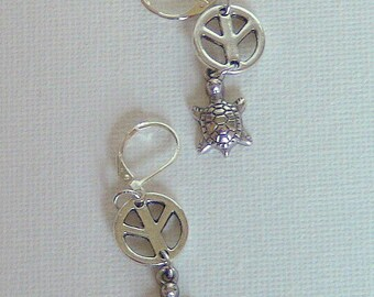 Earrings, Turtle Earrings, Peace Sign and Turtle Earrings