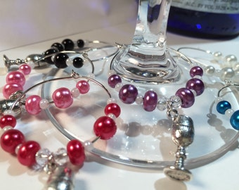 Wine Glass Charms - Set of 6 - with Wine Goblet Charms, Handcrafted (WG-55)