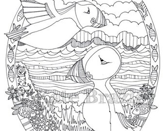 SAVE 2 x Adult Colouring pages New Puffin  Camper on the