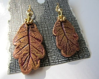 Earrings Dangle Leaf White Oak Gold on Burgundy Hypoallergenic Gold Plated Wires