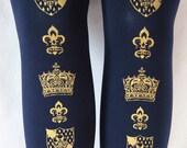 M Tall Crown Printed Tights Medium Tall 120 Den Gold Navy Blue Tights Womens Classic Lolita Dolly Kei