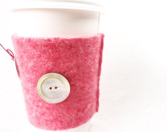 Coffee Cozy PINK CABLED Wool Coffee Cosy / Coffee Sleeve by WormeWoole