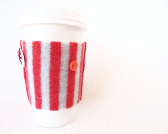 Wool Coffee Cozy TANGERINE & AQUA Recycled Felted Sweater Wool Coffee Cosy / Coffee Sleeve / Coffee Sweater Ecofriendly Stocking Stuffer