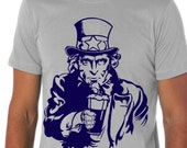 Beer Drinking Uncle Sam Unisex Craft Beer Homebrew T-Shirt, Perfect Beer Festival Shirt or Gift for Beer Lover