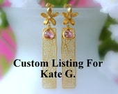 Custom Listing For Kate G. .... Gold Mesh Lavender Earrings