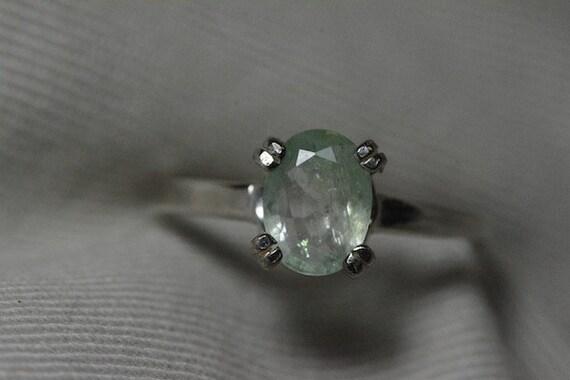emerald ring 1 19 carat light green emerald by silverjewelery