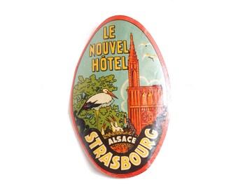 Vintage Le Nouvel Hôtel luggage label, original unused gummed paper ephemera, decal, sticker, baggage, Strasbourg, Alsace, France, stork