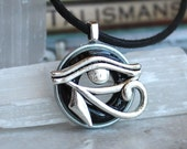 black eye of horus necklace, mens jewelry, fathers day, mens necklace, unique gift, Egyptian god, Egyptian symbol, The Wadjet, mens gift