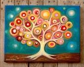 "Tree of life art, Whimsical tree art print on canvas, Folk tree art, acrylic tree, Colourful Wall Hanging, Modern Art Home & Living, 12""x16"""