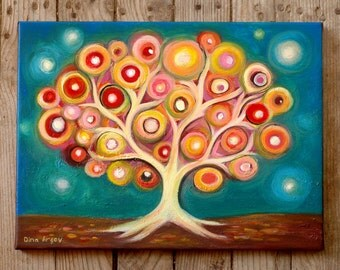 "Tree of life art, Whimsical tree art print on canvas, Folk tree art, acrylic tree, Colourful Wall Hanging, Modern Art Home & Living, 12""x16"""