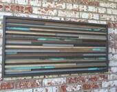Modern Wood Sculpture Wall Art - Lines - 21 x 42