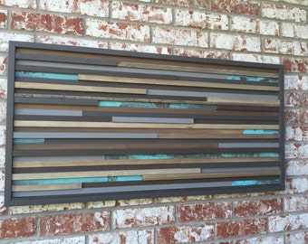 Modern Wood Sculpture Wall Art - Lines - 21 x 42