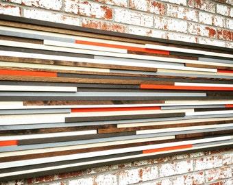 Wall Art - Wood Wall Art - Reclaimed Wood Art Sculpture - Modern Wall Art/Abstract Painting on Wood 24x60