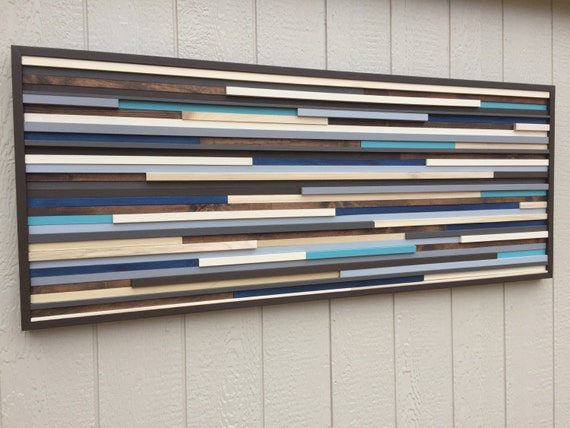 Wall Art - Wood Wall Art - Reclaimed Wood Art Sculpture - Modern Wall Art/Abstract Painting on Wood 60x24