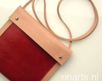 Leather cross body bag / leather messenger bag / leather schoulder bag in natural and red leather.  A color block design