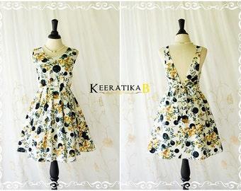 Party V Backless Dress Gold/Green Roses Dress Black Polka Dot Prom Party Dress Summer Sundress Floral Wedding Bridesmaid Dress XS-XL