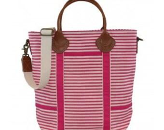 Monogrammed Flight Bag - pink stripes