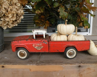Vintage toy Ny-Lint metal  truck , orange for Fall ,  chippy paint , rusted , worn , perfect