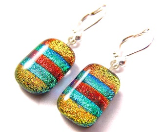 Dichroic Earrings - Striped Orange Red Copper Emerald Green Skinny Rainbow - EuroWire Lever Leverback Dangle or Convert to Clip-On