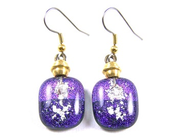 "Dichroic Pet Ashes Cremation Dangle Earrings - Purple Violet Beaded French Wire Surgical, 3/4""/ 20mm, Custom Color Remembrance Jewelry"