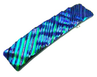 """Barrette Dichroic Ripples & Waves Emerald Green Teal Veridian Dicro Fused Glass - 2.5"""" / 65mm - Purple Highlights"""