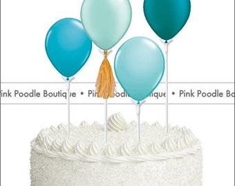 Mini Balloon CAKE TOPPER / Cupcake PICKS (1 pc) -- Pearl/Bright Teal, Aqua & Robin's Egg Blue -- pif.pay it forward.aok.act of kindness