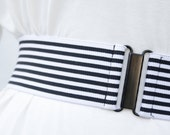 "SALE - black and white striped waist belt, 2"" black elastic belt for women, teens and children"