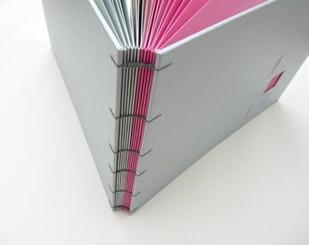 Silver, minimalist, photo album, pink, grey pages, squares, cloth, metallic