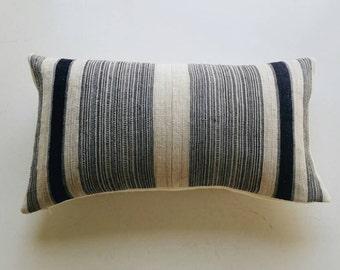 Navy Boho Pillow Cover - Indigo Stripe Tribal Accent Pillow - Vintage Hmong Pillow
