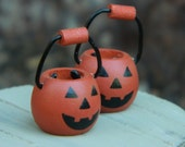 Miniature Jack- O - Lantern Candy Bucket Halloween Miniatures Fairy Garden Jack-o-Lantern Miniature Garden supplies and crafts Mini pumpkin