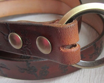 Customizable 1 1/2 inch, Cherry Blossom Design Leather Ring Belt, Medieval, Renaissance, SCA, Fantasy