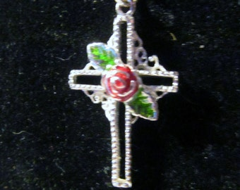 Vintage Sterling Silver Red Rose Cross Necklace