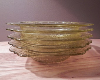 Vintage Federal Glass Madrid Collection Amber Soup Bowls Set of Five