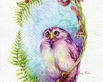 Spring owl and friends - ORIGINAL watercolor painting 7.5x11 inches