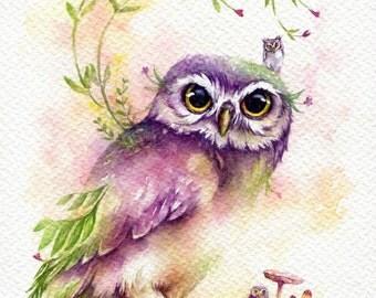 "PRINT – Verdant Lodge - Watercolor painting 7.5 x 11"""