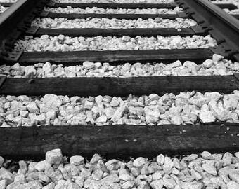 Train Tracks Photo, Black and White Photo, Train Themed Wall Decor, Destination Unknown