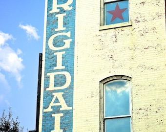 Farmhouse Kitchen Wall Decor, Retro Advertising Art, Frigidaire Sign, Urban Photography Downtown Athens Historic Photo, Digital Photography